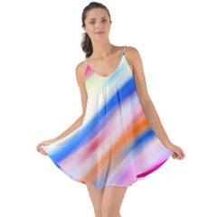Vivid Colorful Wavy Abstract Print Love The Sun Cover Up