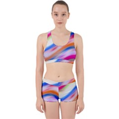Vivid Colorful Wavy Abstract Print Work It Out Gym Set