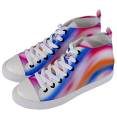 Vivid Colorful Wavy Abstract Print Women s Mid-top Canvas Sneakers by dflcprintsclothing