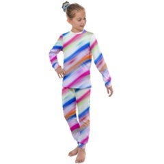 Vivid Colorful Wavy Abstract Print Kids  Long Sleeve Set