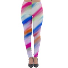 Vivid Colorful Wavy Abstract Print Lightweight Velour Leggings