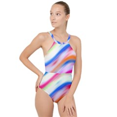Vivid Colorful Wavy Abstract Print High Neck One Piece Swimsuit