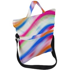 Vivid Colorful Wavy Abstract Print Fold Over Handle Tote Bag by dflcprintsclothing