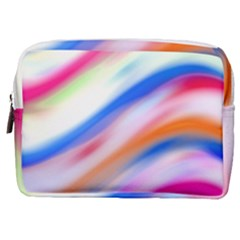 Vivid Colorful Wavy Abstract Print Make Up Pouch (medium)