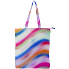 Vivid Colorful Wavy Abstract Print Double Zip Up Tote Bag