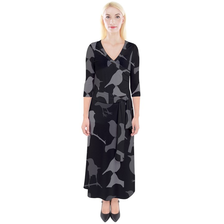 Bird Watching - Dark Grayscale - Quarter Sleeve Wrap Maxi Dress
