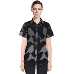 Bird Watching   Dark Grayscale   Women s Short Sleeve Shirt