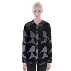 Bird Watching   Dark Grayscale   Womens Long Sleeve Shirt