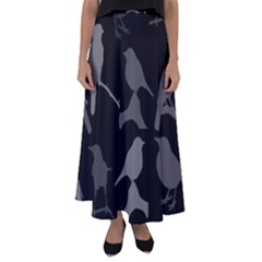 Bird Watching   Dark Grayscale   Flared Maxi Skirt