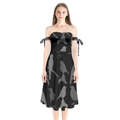 Bird Watching   Dark Grayscale   Shoulder Tie Bardot Midi Dress