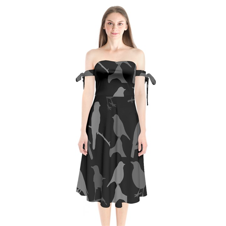 Bird Watching - Dark Grayscale - Shoulder Tie Bardot Midi Dress