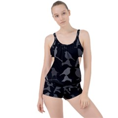 Bird Watching   Dark Grayscale   Boyleg Tankini Set