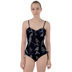 Bird Watching   Dark Grayscale   Sweetheart Tankini Set