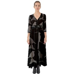 Bird Watching   Dark Grayscale   Button Up Boho Maxi Dress
