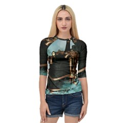 Spirit Of Steampunk, Awesome Train In The Sky Quarter Sleeve Raglan Tee by FantasyWorld7