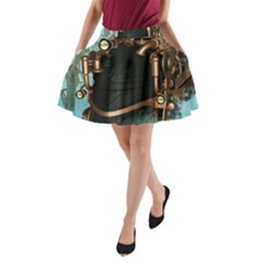 Spirit Of Steampunk, Awesome Train In The Sky A Line Pocket Skirt