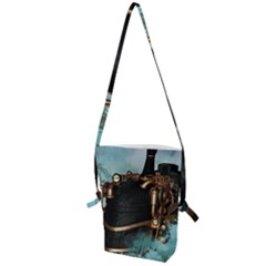 Spirit Of Steampunk, Awesome Train In The Sky Folding Shoulder Bag by FantasyWorld7