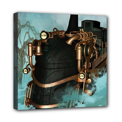 Spirit Of Steampunk, Awesome Train In The Sky Mini Canvas 8  X 8  (stretched) by FantasyWorld7