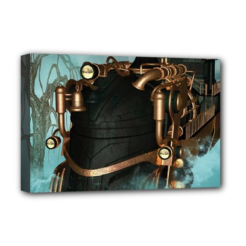 Spirit Of Steampunk, Awesome Train In The Sky Deluxe Canvas 18  X 12  (stretched) by FantasyWorld7