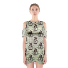 Awesome Chinese Dragon Pattern Shoulder Cutout One Piece Dress by FantasyWorld7