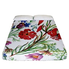 Red And Blue Summer Flowers Fitted Sheet (california King Size) by goljakoff