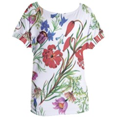 Red And Blue Summer Flowers Women s Oversized Tee by goljakoff