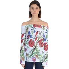 Red And Blue Summer Flowers Off Shoulder Long Sleeve Top by goljakoff