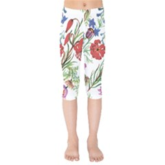 Red And Blue Summer Flowers Kids  Capri Leggings  by goljakoff