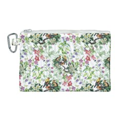 Nature Flora Pattern Canvas Cosmetic Bag (large) by goljakoff