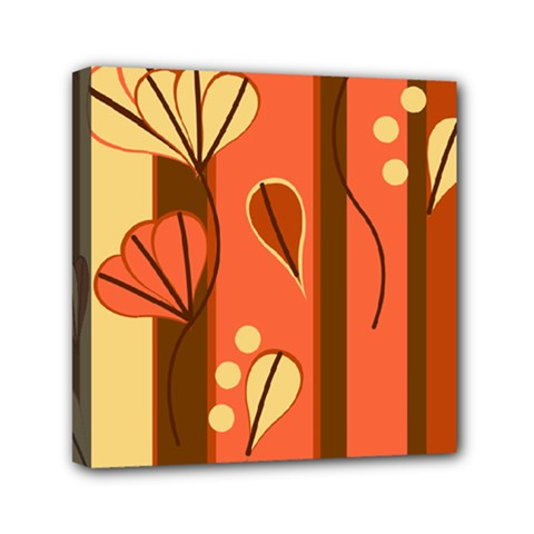 Amber Yellow Stripes Leaves Floral Mini Canvas 6  X 6  (stretched)