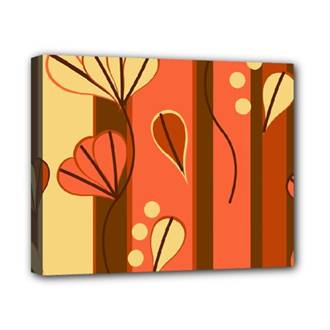 Amber Yellow Stripes Leaves Floral Canvas 10  X 8  (stretched)