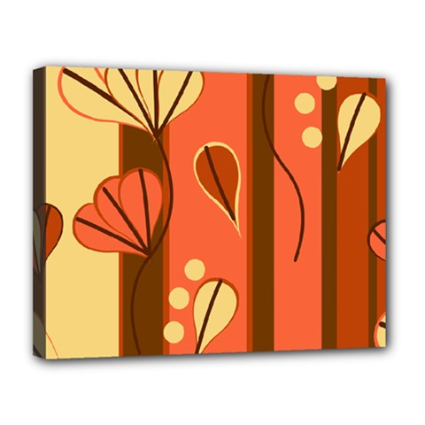 Amber Yellow Stripes Leaves Floral Canvas 14  X 11  (stretched)
