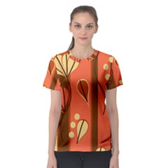 Amber Yellow Stripes Leaves Floral Women s Sport Mesh Tee