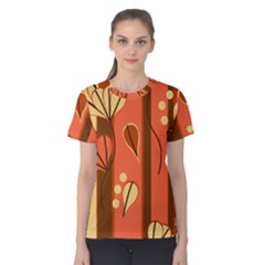 Amber Yellow Stripes Leaves Floral Women s Cotton Tee
