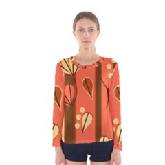 Amber Yellow Stripes Leaves Floral Women s Long Sleeve Tee