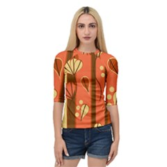 Amber Yellow Stripes Leaves Floral Quarter Sleeve Raglan Tee by Mariart