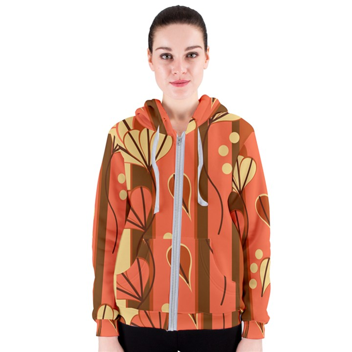 Amber Yellow Stripes Leaves Floral Women s Zipper Hoodie