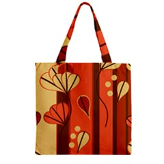 Amber Yellow Stripes Leaves Floral Zipper Grocery Tote Bag