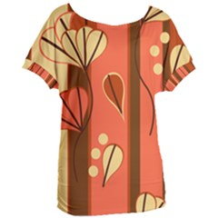 Amber Yellow Stripes Leaves Floral Women s Oversized Tee
