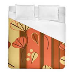 Amber Yellow Stripes Leaves Floral Duvet Cover (full/ Double Size)