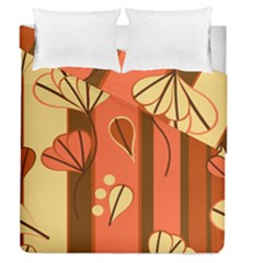 Amber Yellow Stripes Leaves Floral Duvet Cover Double Side (queen Size)