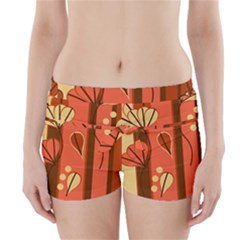 Amber Yellow Stripes Leaves Floral Boyleg Bikini Wrap Bottoms