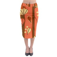 Amber Yellow Stripes Leaves Floral Midi Pencil Skirt