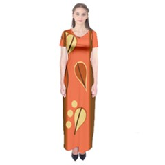 Amber Yellow Stripes Leaves Floral Short Sleeve Maxi Dress