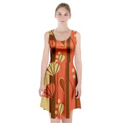 Amber Yellow Stripes Leaves Floral Racerback Midi Dress