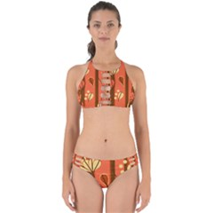 Amber Yellow Stripes Leaves Floral Perfectly Cut Out Bikini Set