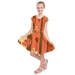 Amber Yellow Stripes Leaves Floral Kids  Short Sleeve Dress