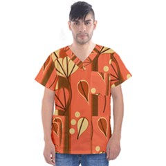 Amber Yellow Stripes Leaves Floral Men s V Neck Scrub Top