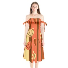 Amber Yellow Stripes Leaves Floral Shoulder Tie Bardot Midi Dress