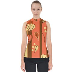 Amber Yellow Stripes Leaves Floral Mock Neck Shell Top